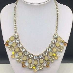 Ann Taylor Loft Clear Rhinestone Yellow Necklace